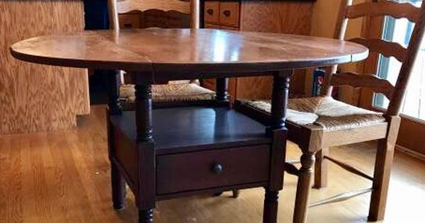 Broyhill Attic Heirlooms Oak Ladderback Chairs With Rush Seat Petite Drop Leaf Table With Black Stained Base Drop Leaf Table Ladder Back Chairs Table