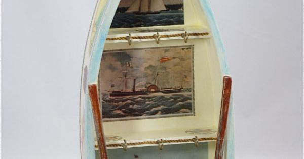 Row Boat Key Holder Wooden Boat Hand Painted Key Holder Decoupaged Key Holder Decorative Key