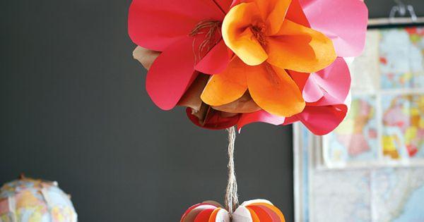 DIY Paper Flower + Paper Heart Ornaments by Jo Neville