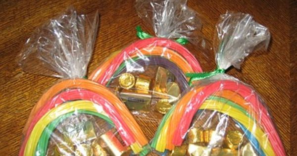 Rainbow licorice and Rolos for St. Patricks Day treat! Cute idea...