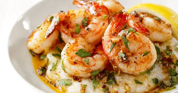Lemon-garlic shrimp grits from Food Network Magazine seafood dinner