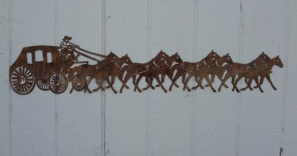 Stagecoach And Horses Metal Wall Art Country Rustic Home