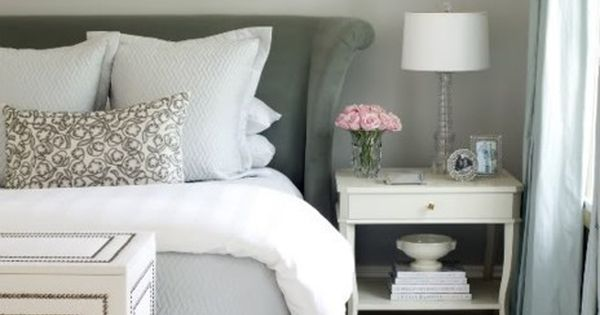 Grey and white, pretty side table, and pink flowers!