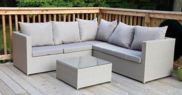 Oliver Smith Large 4 Pc Modern Beige Rattan Wiker Sectional Sofa Set Outdoor Patio Furniture Fu Patio Furniture Sets Teak Outdoor Furniture Patio Furniture