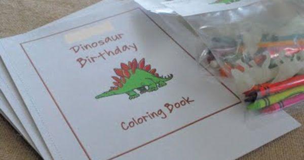 Dinosaur Coloring Book Party Favor Pics