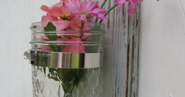 Mason Jar Wall Decor Pinterest : Nautical decor wall sconce rustic shabby chic vases