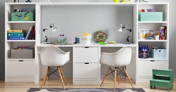 Mesa de estudio para dos ni os escritorios pinterest - Mesas de estudio para ninos ...