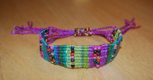 Woven Bracelet Cardboard Loom Weaving Pinterest