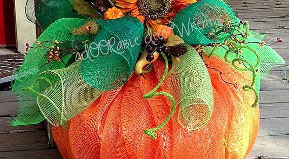 This aDOORable mesh pumpkin measures 22 in length and 25 in width.