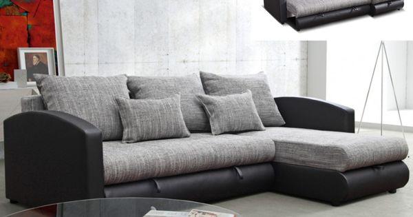 canap d 39 angle convertible et r versible piana pas cher gris et noir prix promo canap vente. Black Bedroom Furniture Sets. Home Design Ideas