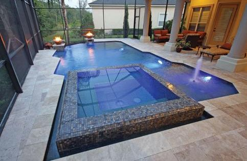 Linear pool with raised perimeter overflow spa aquatech for Pool builders jacksonville florida