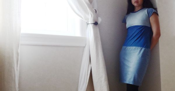 Upcycle tshirts into color block dress