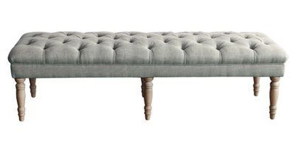 AVE SIX Scarlet Bench with Tufted Top and Antique Bronze Nailhead Accents Linen Fabric