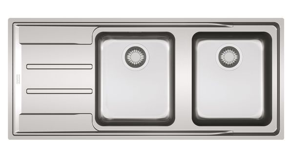 Franke Aton Sink : Franke Aton 2 Bowl Polished Stainless Steel Sink with Reversible ...