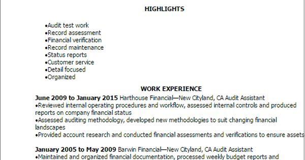 Resume Templates Audit Assistant Resume excel Pinterest - audit assistant sample resume