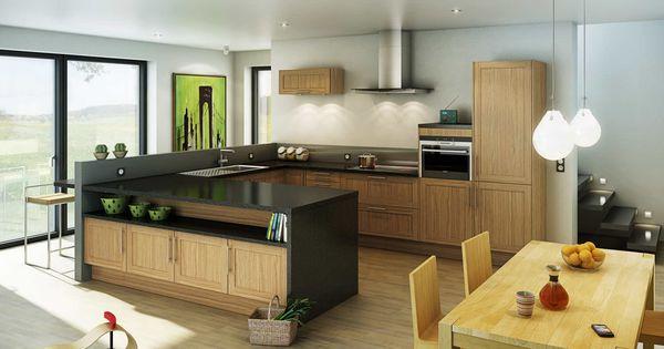 Cuisine shaker meuble ch ne et plan de travail fonc for Meuble cuisine hygena