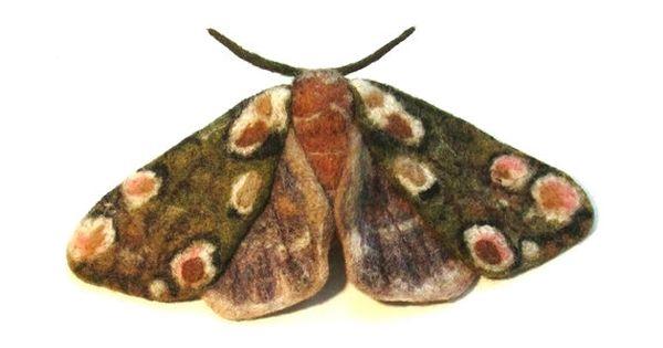 Needle Felted Felt Brooch Moth Peach Blossom Insect Etsy Felt Brooch Felt Jewelry Needle Felting