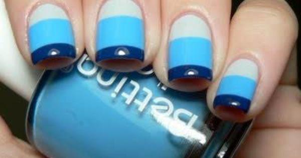 Multi striped blue nails nails stripes diy blue nails nail art diy
