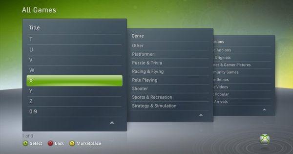 Xbox game menu layout UI Design (Game & Film