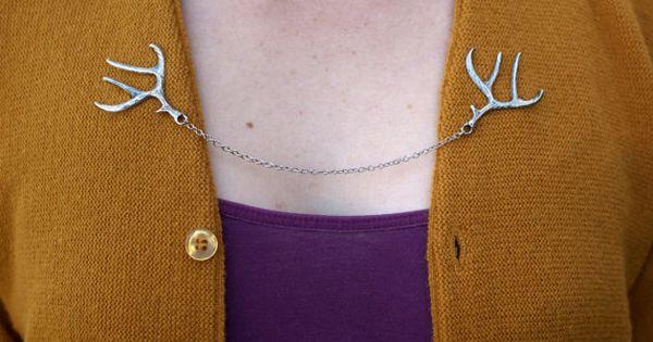 Deer Antler Cardigan Clip Chain Silver Bronze or by DapperandSwag, $15.00 |  Sweater Clips | Pinterest - Deer Antler Cardigan Clip Chain Silver Bronze Or By DapperandSwag