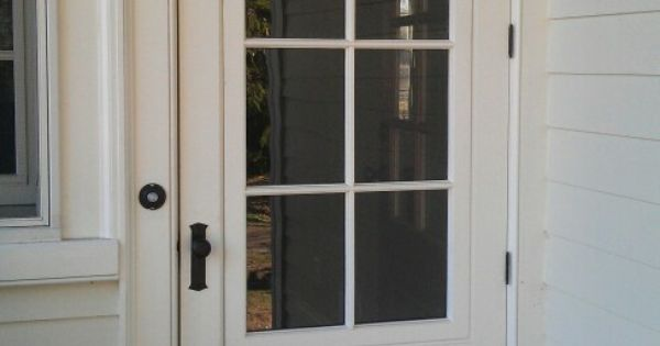 Wood Screen Doors With Removable Screens : Traditional wood mahogany painted storm door with