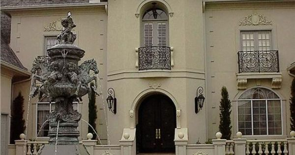 Motor Court Entry To French Chateau Design Mansion