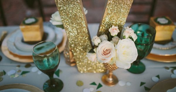 Emerald Green Gold Engagement Party Inspiration Gold