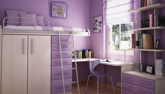 Appealing Kids Rooms Decorating Ideas for Girls: Amazing Modern Purple Teenage Girl