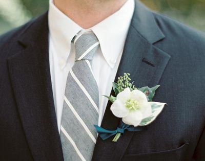 Wedding tie - white boutonniere   striped tie | Charla Storey
