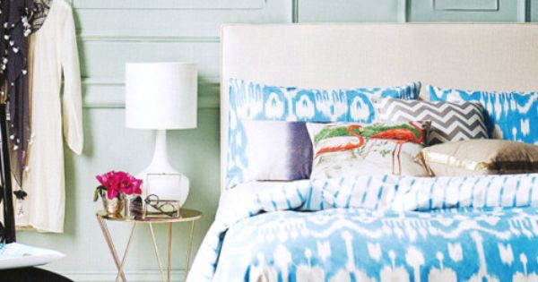 beautiful blue ikat bedding in a stylish bedroom