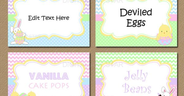 Printable Easter Place Cards Editable Easter Labels