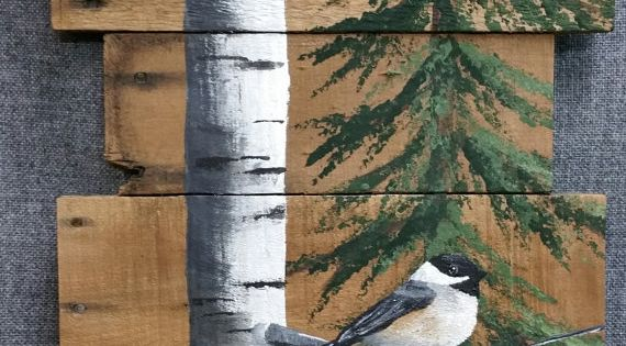 Wood Pallet Art White Birch Pine Tree Reclaimed Tall