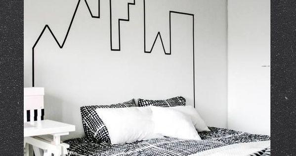 t te de lit building headboard ville city immeuble masking tape washi sur les murs pinterest. Black Bedroom Furniture Sets. Home Design Ideas