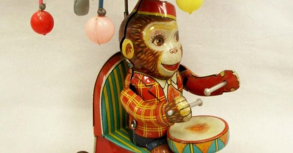 1093 san tin mechanical toy drumming monkey lot 1093 monkey business pinterest. Black Bedroom Furniture Sets. Home Design Ideas