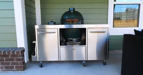 Stainless Steel Big Green Egg table cart Stainless steel, Green eggs ...