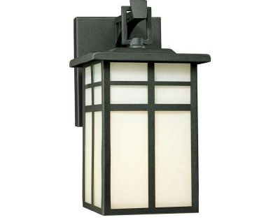 Thomas Lighting Mission 1 Light Black Outdoor Wall Mount Lantern Sconce Sl91047 The Home Depot In 2020 Outdoor Wall Lighting Outdoor Sconces Porch Lighting