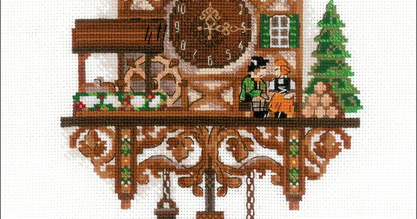 """RIOLIS Counted Cross Stitch Kit 9.75/""""X15.75/""""-Cuckoo Clock 14 Count"""