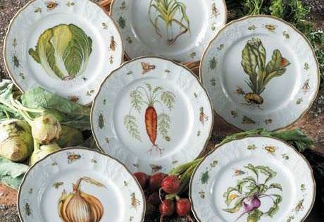 Antique Vegetables Plates Chateaubriand Blue And Other