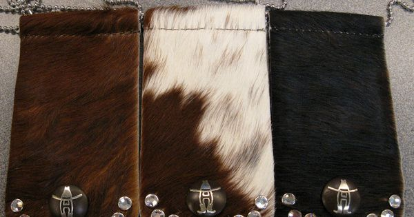 Cowhide Badge Holder With Crystals 5000 Type Badges And