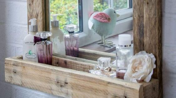 Do It Yourself Home Decorating Ideas: DIY Rustic Mirror Shelf