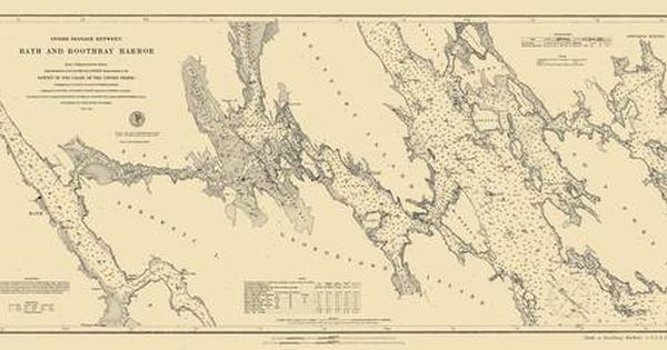 Bath And Boothbay Harbor 1884 Old Map Nautical Chart Ac Harbors 3 315a Maine Boothbay Harbor Old Map Boothbay