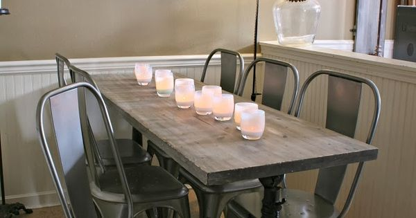 Weathered wood dining table restoration hardware metal for Restoration hardware metal chair