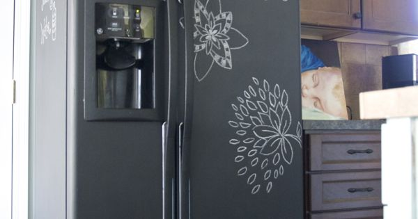 DIY project for an ugly fridge chalkboard paint takes 3 coats {Tutorial}