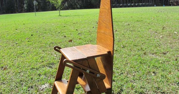 Wood Chair Ironing Board Step Ladder Folk Art Handmade