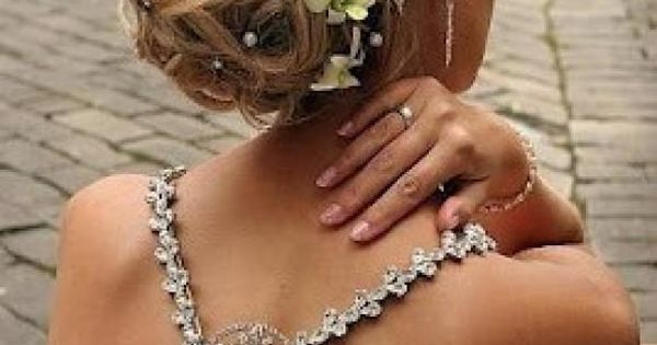 Elegant Wedding Bridal Wavy Updo with Flowers for Long Hair Gorgeous ♥