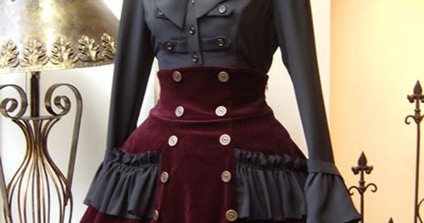 Steampunk lolita deep red wine velvet skirt with waist cincher and greay