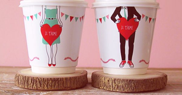 DIY 'Je t'aime' coffee cup wrappers. PDF download available on website. -