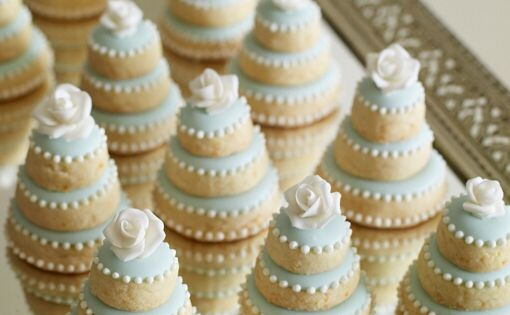 bridal shower cookies or mini wedding cake cookies for dessert table -