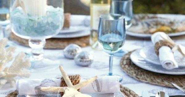 Tischdeko Maritim Look blaue Gläser  Tisch Deko Hochzeit  Pinterest ...