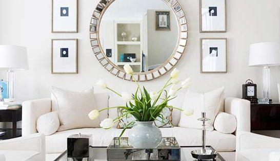 Symmetrical Grouping Of Art Surrounding Large Mirror From Bhg Via Centsationalgirl Mystyle